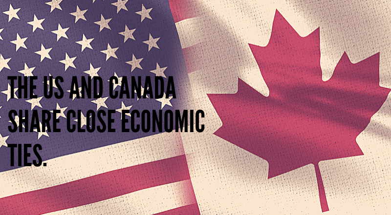 """The Canadian and US flags in one image, overlapping. The text reads """"The US and Canada share close economic ties."""""""