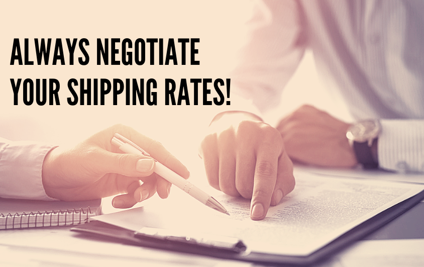 """Two people negotiating a shipping contract. The text on the screen reads """"Always negotiate your shipping rates!"""""""