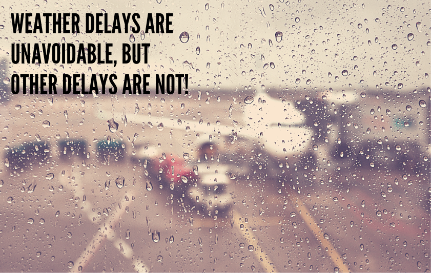 A plane delayed on the tarmac because of a weather event
