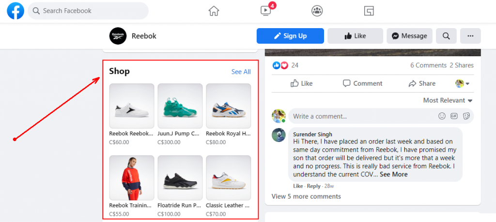Facebook Social eCommerce